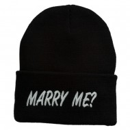 Marry Me Embroidered Long Cuff Beanie - Black