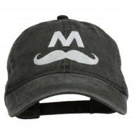 Halloween Mario M Mustache Embroidered Washed Cap - Black