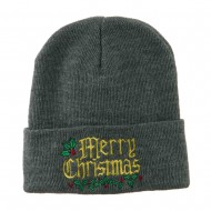 Mistletoe Merry Christmas Embroidered Long Beanie - Grey
