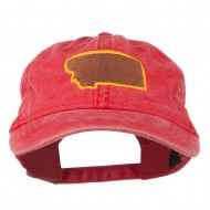 Montana State Map Embroidered Cap - Red