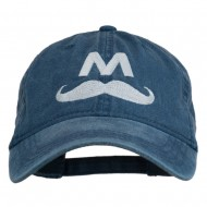 Halloween Mario M Mustache Embroidered Washed Cap - Navy