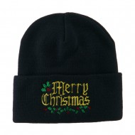 Mistletoe Merry Christmas Embroidered Long Beanie - Navy