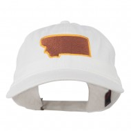 Montana State Map Embroidered Cap - White