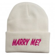 Marry Me Embroidered Long Cuff Beanie - White