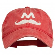 Halloween Mario M Mustache Embroidered Washed Cap - Red