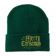 Mistletoe Merry Christmas Embroidered Long Beanie - Green
