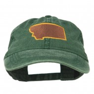 Montana State Map Embroidered Cap - Dark Green