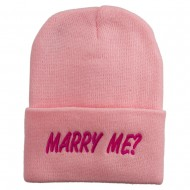 Marry Me Embroidered Long Cuff Beanie - Pink