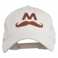 Halloween Mario M Mustache Embroidered Washed Cap - White