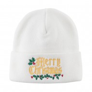 Mistletoe Merry Christmas Embroidered Long Beanie - White