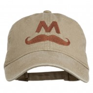 Halloween Mario M Mustache Embroidered Washed Cap - Khaki