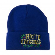Mistletoe Merry Christmas Embroidered Long Beanie - Royal