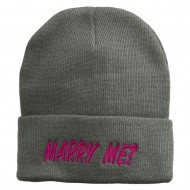 Marry Me Embroidered Long Cuff Beanie - Light Grey