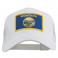 Montana State Flag Patched Mesh Cap - White