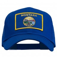 Montana State Flag Patched Mesh Cap - Royal