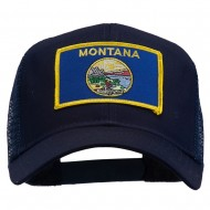 Montana State Flag Patched Mesh Cap - Navy