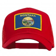 Montana State Flag Patched Mesh Cap - Red