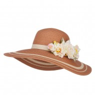 Flower Trim Two Tone Sun Hat - Natural