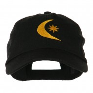 Moon and Star Embroidered Cap - Black