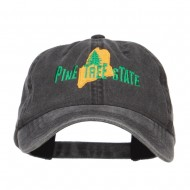 Maine Pine Tree State Embroidered Cap - Black