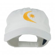 Moon and Star Embroidered Cap - White