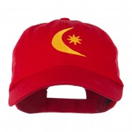 Moon and Star Embroidered Cap - Red