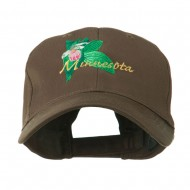 USA State Flower Minnesota Embroidery Cap - Brown