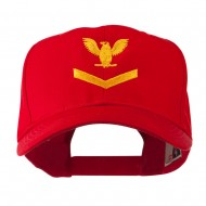 Military Naval Stripe with Eagle Emblem Embroidered Cap - Red