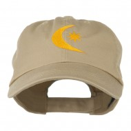 Moon and Star Embroidered Cap - Khaki