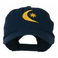Moon and Star Embroidered Cap - Navy