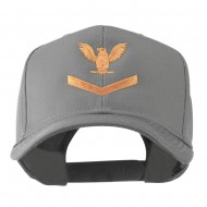 Military Naval Stripe with Eagle Emblem Embroidered Cap - Grey