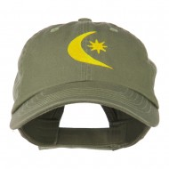 Moon and Star Embroidered Cap - Olive