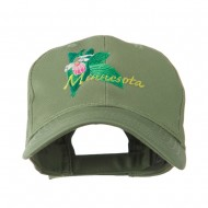 USA State Flower Minnesota Embroidery Cap - Olive
