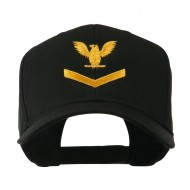 Military Naval Stripe with Eagle Emblem Embroidered Cap - Black