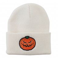 Halloween Mad Jack o Lantern Embroidered Long Beanie - White