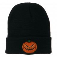 Halloween Mad Jack o Lantern Embroidered Long Beanie - Navy