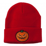 Halloween Mad Jack o Lantern Embroidered Long Beanie - Red