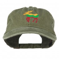 Wildlife Animal Moose Embroidered Cap - Olive Green