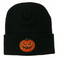 Halloween Mad Jack o Lantern Embroidered Long Beanie - Black