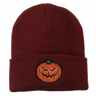 Halloween Mad Jack o Lantern Embroidered Long Beanie - Maroon
