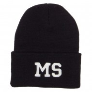 MS Mississippi State Embroidered Long Beanie - Black