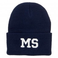 MS Mississippi State Embroidered Long Beanie - Navy