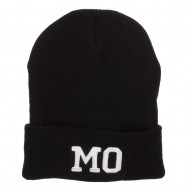 MO Missouri State Embroidered Long Beanie - Black