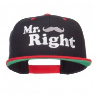 Mr Right Mustache Embroidered Snapback - Black Red