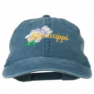 Mississippi State Flower Embroidered Washed Cap - Navy