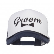 Groom Bow Tie Embroidered Foam Mesh Cap - Navy White
