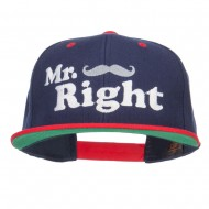 Mr Right Mustache Embroidered Snapback - Navy Red