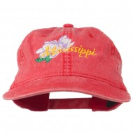 Mississippi State Flower Embroidered Washed Cap - Red