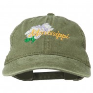 Mississippi State Flower Embroidered Washed Cap - Olive