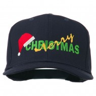 Merry Christmas Santa Hat Embroidered Cap - Navy
